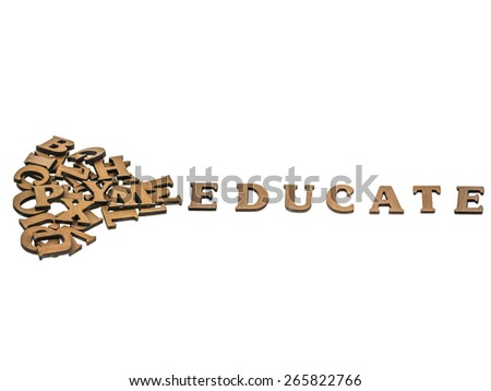 Word educate made with block wooden letters next to a pile of other letters over the wooden board surface composition, clipping path included. - stock photo