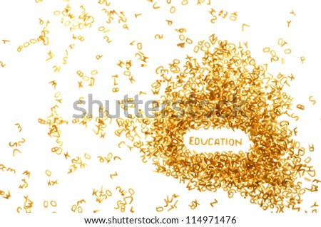 word EDUCATION made of food letters, white background - stock photo