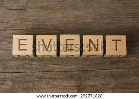 word event on wooden cubes - stock photo