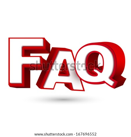 Word FAQ in red letters isolated on white background  - stock photo