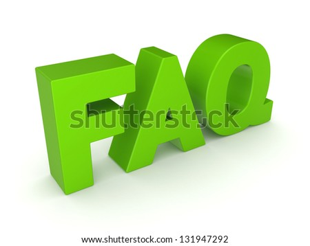 Word FAQ.Isolated on white background.3d rendered. - stock photo