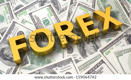Word Forex on the background of one hundred dollar bills