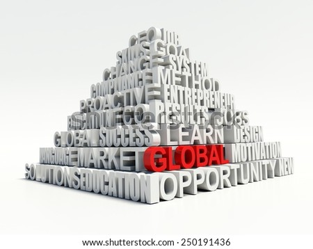 Word GLOBAL in red, salient among other related keywords concept in white pyramid. 3d render illustration - stock photo