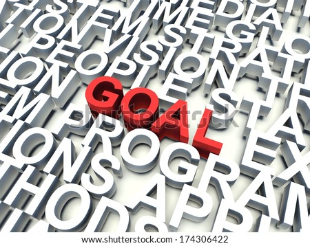 Word Goal in red, salient among other related keywords concept in white. 3d render illustration.