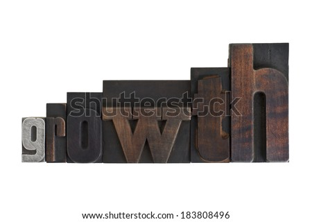 word growth in vintage wooden letterpress type, ascending sizes, scratched and stained, isolated on white background - stock photo
