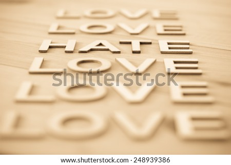 Word HATE concept made up with wooden letters, in focus - stock photo