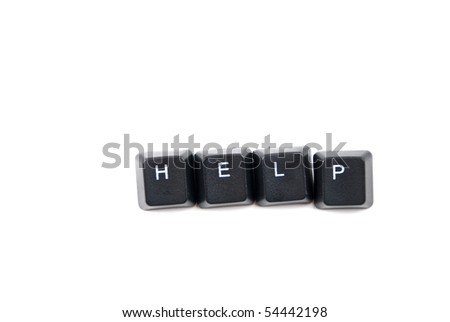 Word help composed with black letters of computer keyboard isolated on white background with copy space