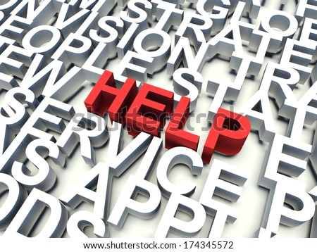 Word Help in red, salient among other related keywords concept in white. 3d render illustration. - stock photo