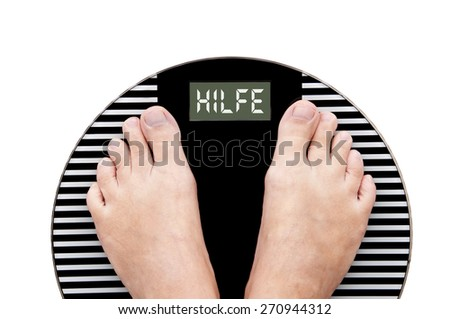 Word Help written in German (Hilfe) on a weight scale with feet isolated on white background - stock photo