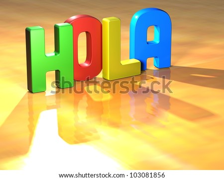 Word Hola on yellow background (high resolution 3D image) - stock photo