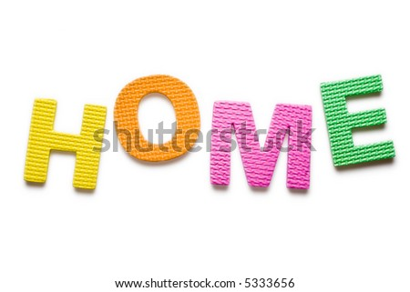 Word HOME isolated on the white background - stock photo