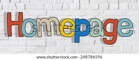 Word Homepage on a Brick Wall in Background - stock photo