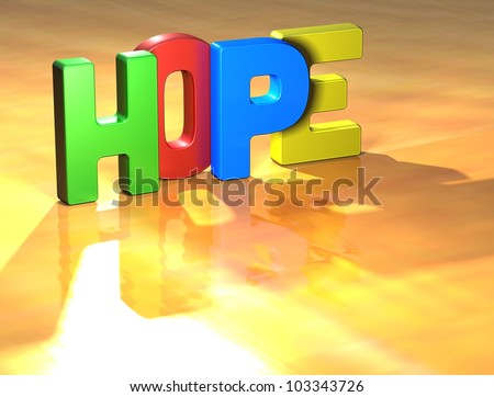 Word Hope on yellow background (higj resolution 3D image)