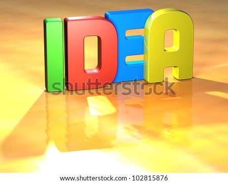 Word Idea on yellow background (high resolution 3D image)