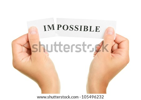 Word impossible isolated on white background