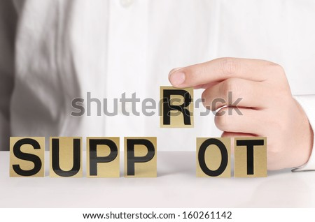 word in a hand businessmen  - stock photo