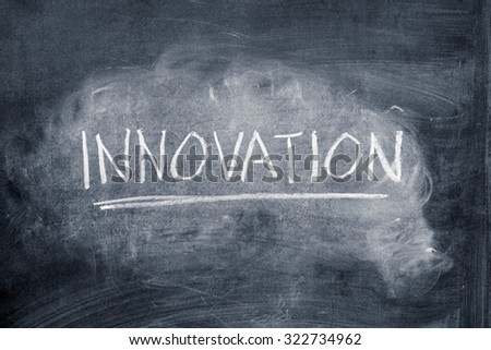 Word innovation written on a chalkboard - stock photo
