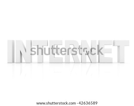 Word internet on 3D isolated on white