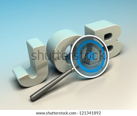 word job written with 3d letters onto a blue and beige background with a magnifier including a blue target. - stock photo