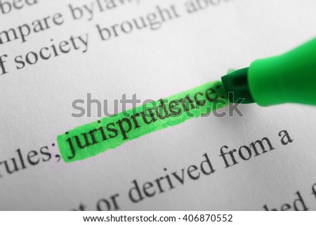 Word Jurisprudence highlighted with a green marker - stock photo