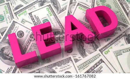 Word Lead on the background of one hundred dollar bills - stock photo
