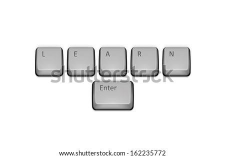 Word Learn on keyboard and enter key.