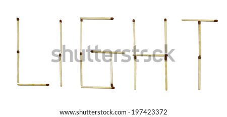 Word light isolated on white background. - stock photo