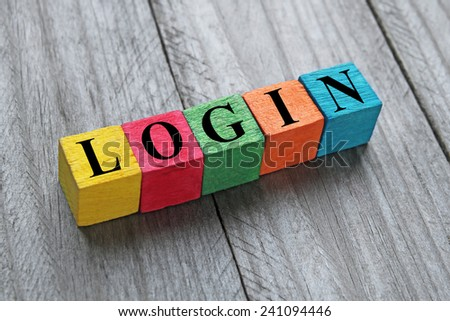 word login on colorful wooden cubes - stock photo