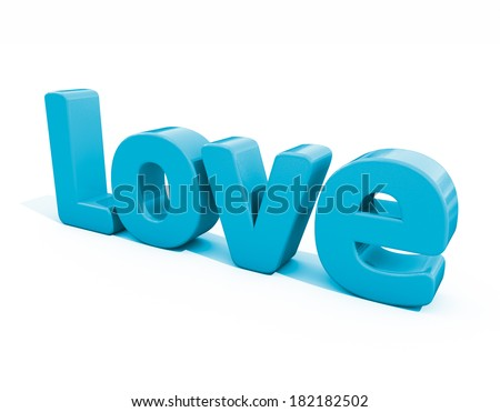 Word love icon on a white background. 3D illustration.
