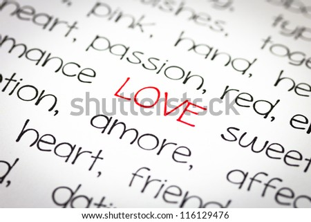 Word love with lot of other words