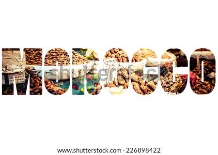 Word MOROCCO over traditional symbols. - stock photo