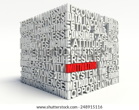 Word MOTIVATION in red, salient among other related keywords concept in white. 3d render illustration. - stock photo