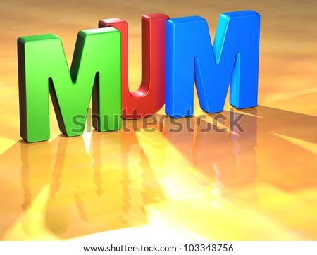 Word Mum on yellow background (higj resolution 3D image)