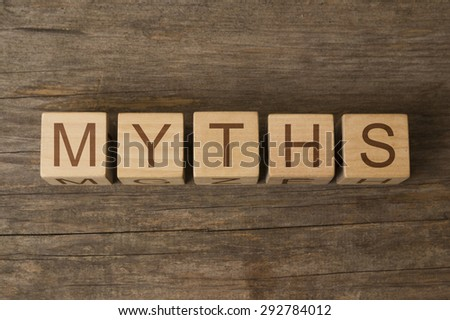 word myths on wooden cubes - stock photo