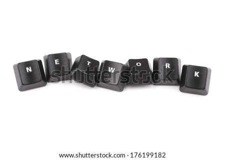 Word network formed with computer keyboard keys on white background with shadow