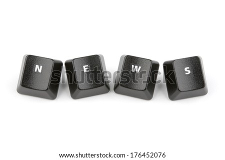 Word news formed with computer keyboard keys on white background with shadow