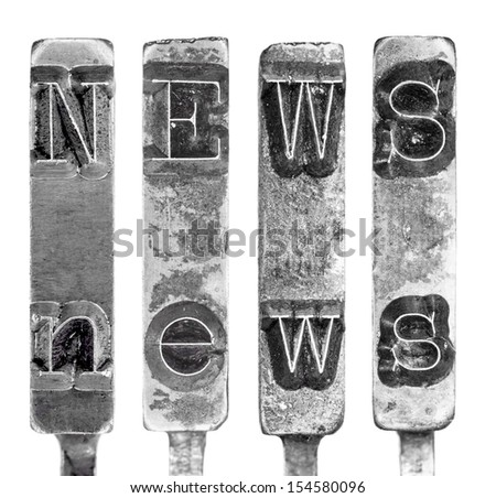 Word NEWS in Old Typewriter Typebar Letters Isolated on White - stock photo