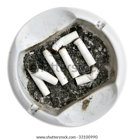 "Word ""NO"" made from cigarettes stubs in the ash-tray - stock photo"