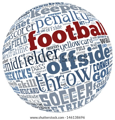 word of football text cloud