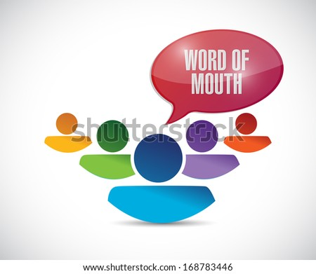 word of mouth team message illustration over a white background - stock photo