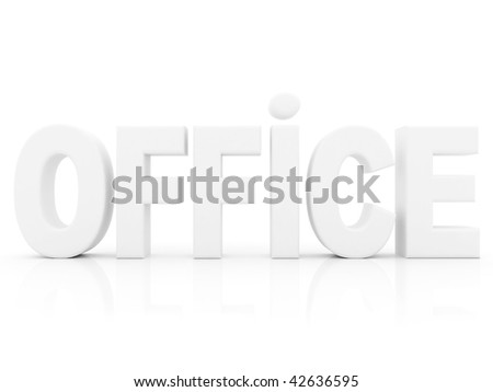 Word office on 3D isolated on white - stock photo
