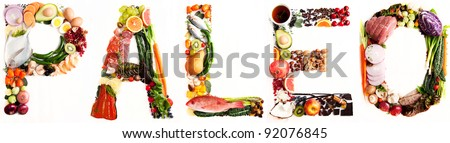 Word Paleo shaped out of Various Healthy Fresh Meats, Fish, Vegetables, Fruit, Tea, and Some Chocolate - stock photo