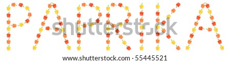 Word paprika made of three types of peppers isolated on white background. Collage - stock photo