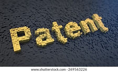 Word 'Patent' of the yellow square pixels on a black matrix background. Inventor concept. - stock photo