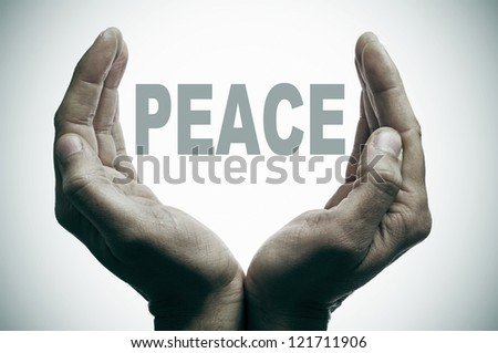word peace between man hands forming a cup - stock photo