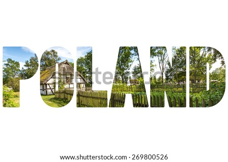 Word POLAND traditional house. - stock photo