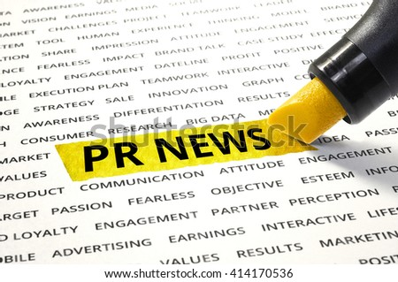Word PR NEW highlighted with marker on paper of other related words. For direction of business marketing concept - stock photo