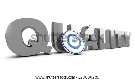 Word quality  written in 3D with a target and one arrow hitting the mark, white background