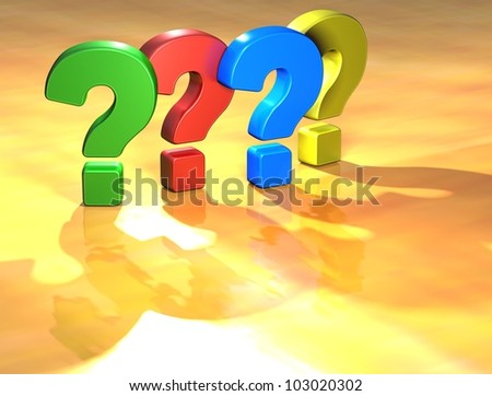 Word Question Mark on yellow background (high resolution 3D image)