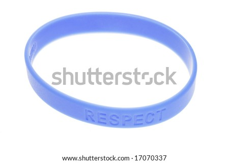 """Word """"Respect"""" on blue color wrist band - stock photo"""